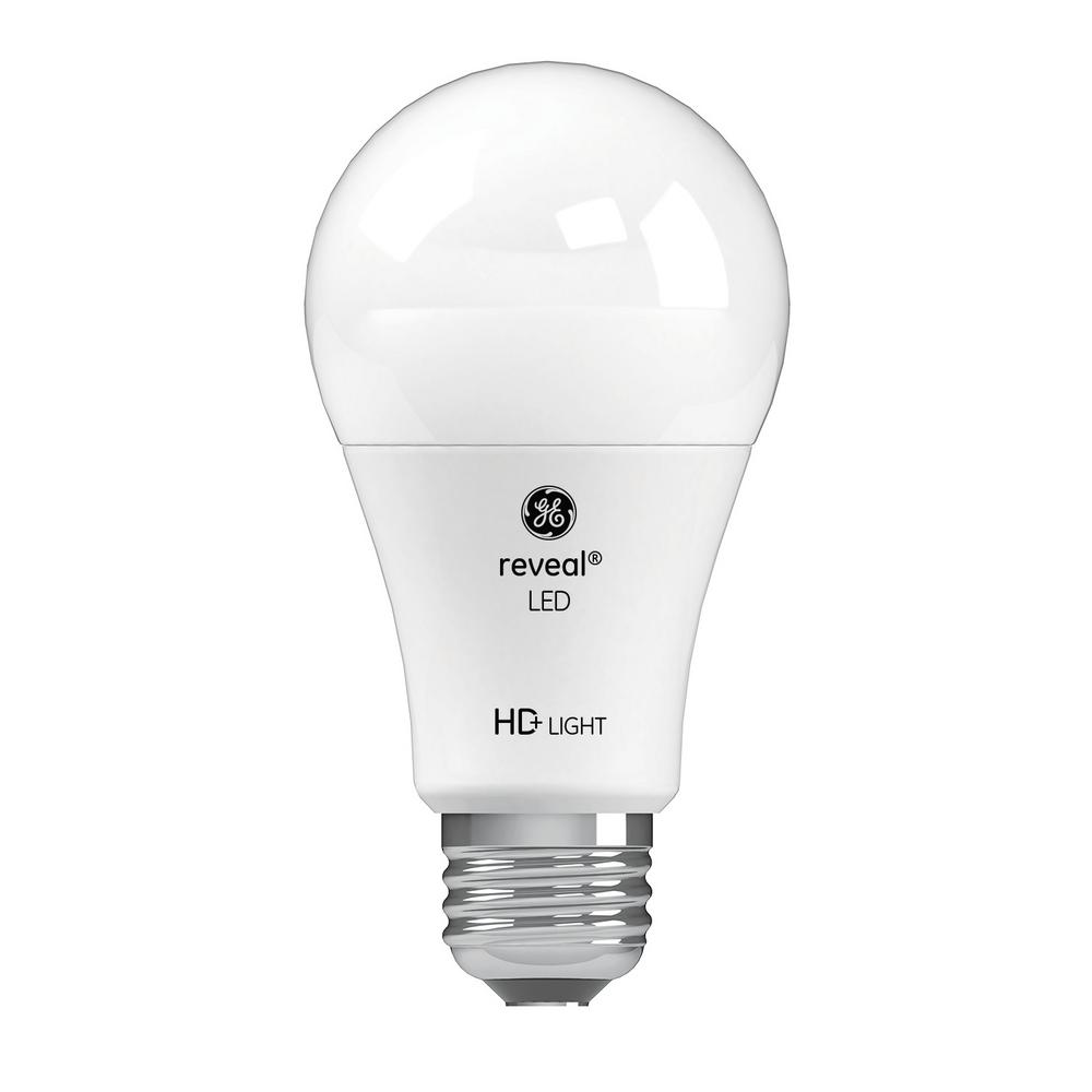 GE 60W Equivalent Reveal (2,850K) High Definition A19 Dimmable LED (2-Pack)