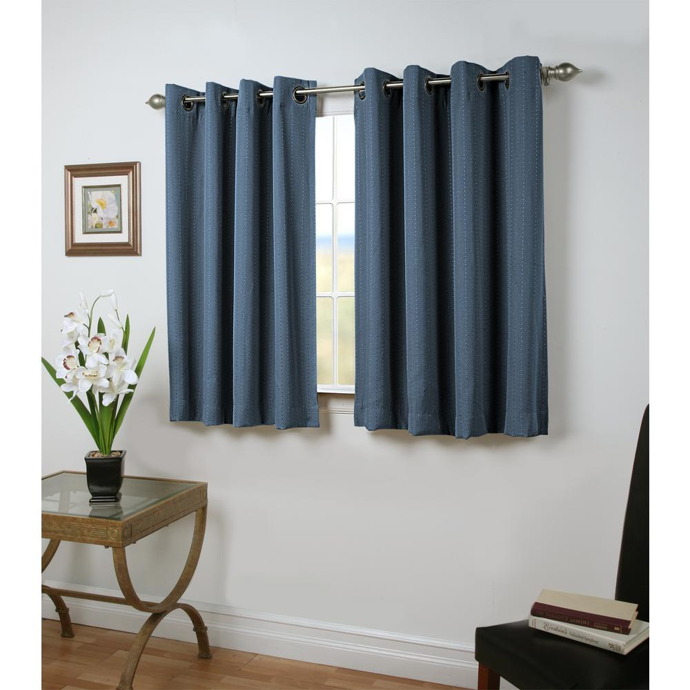 Grand Pointe 54 in. W x 54 in. L Polyester Blackout Short Length Window Panel in Deep Blue
