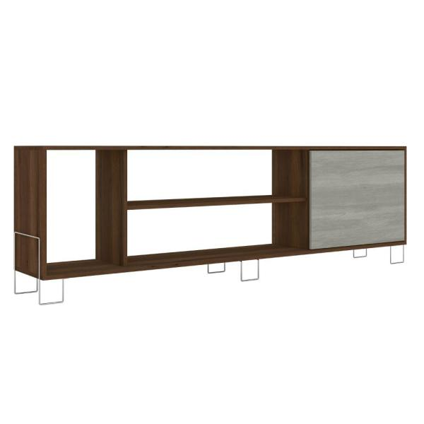 70.87 in. W Brown and White Wooden Entertainment TV Stand with 3-Open Compartments Fits TV's up to 71 in.