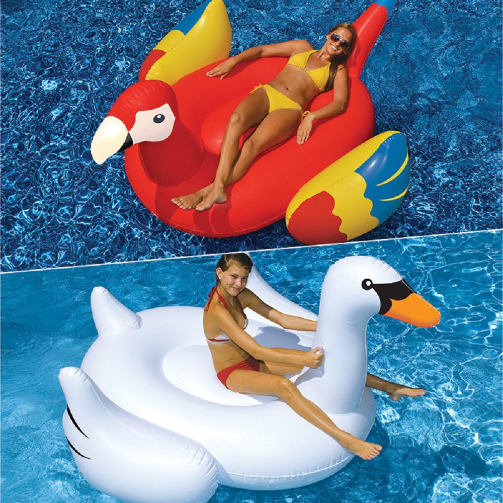Swimline Giant White Swan and Parrot Swimming Pool Float Combo (2-Pack)