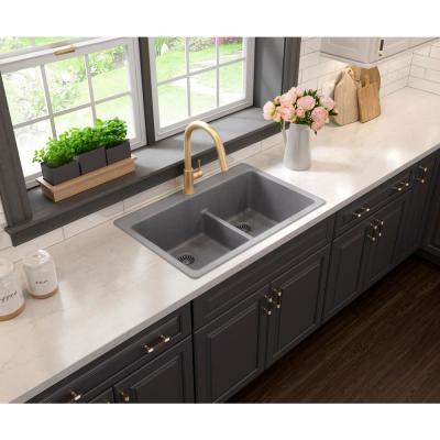 Glacier Bay Drop-in/Undermount Granite Composite 33 in. 1-Hole 50/50 Double Bowl Kitchen Sink with Low Divide in Gray