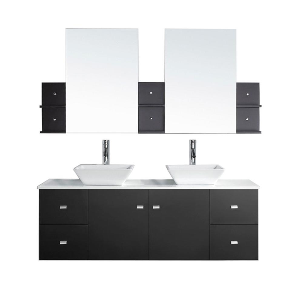 Virtu USA Clarissa 60 in. W Bath Vanity in Espresso with Stone Vanity Top in White with Square Basin and Mirror and Faucet