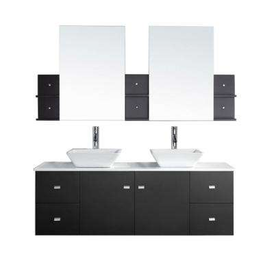 Clarissa 61 in. W x 22 in. D Vanity in Espresso with Stone Vanity Top in White with White Basin and Mirror