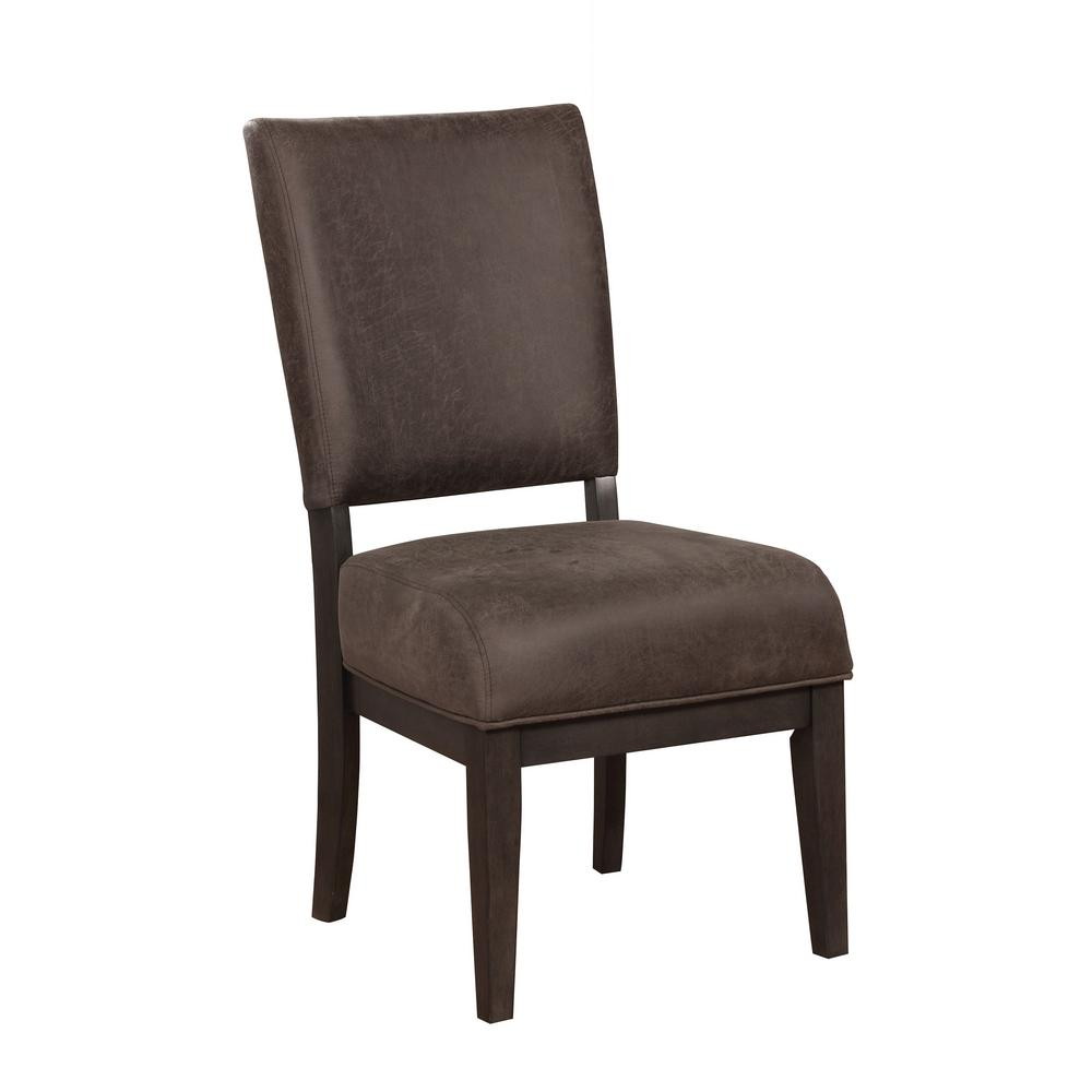 Nogales espresso faux leather side chair set of 2