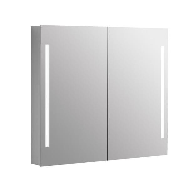 36 in. x 31 in. Recessed or Surface Mount Medicine Cabinet LED Lighting Bathroom Mirror in Aluminum
