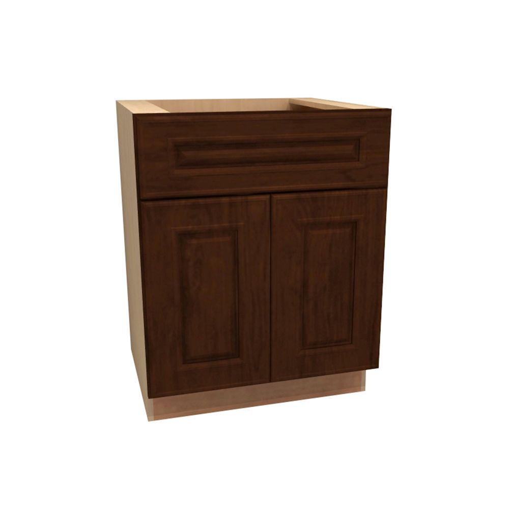 Home Decorators Collection Roxbury Assembled 24x34.5x21 in. Double Door & Drawer Base Vanity Cabinet in Manganite
