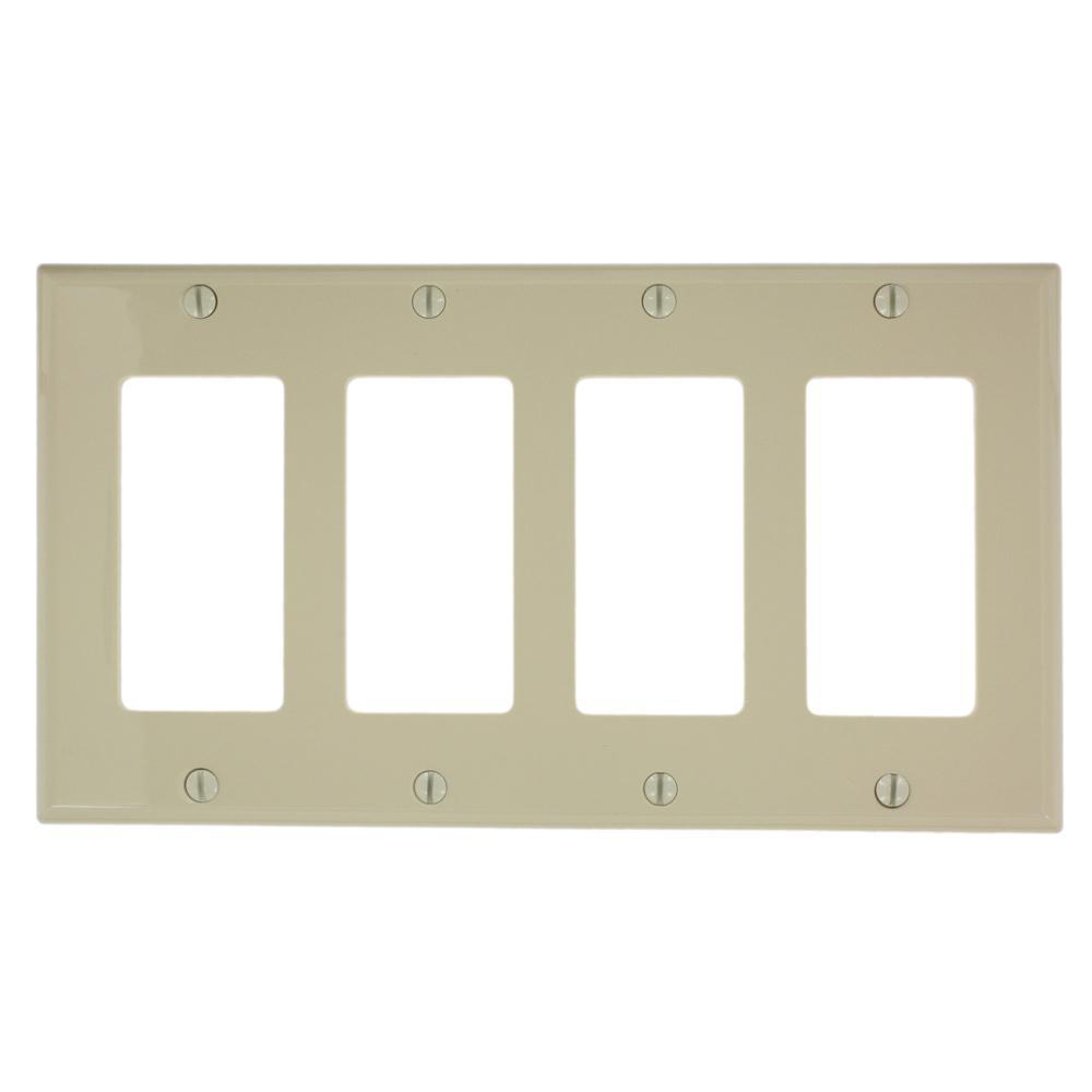 4-Gang Decora Nylon Wall Plate, Ivory