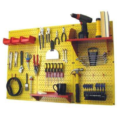32 in. x 48 in. Metal Pegboard Standard Tool Storage Kit with Yellow Pegboard and Red Peg Accessories
