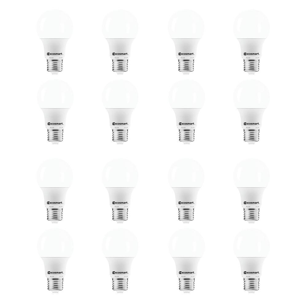 EcoSmart 40-Watt Equivalent A19 Non-Dimmable LED Light Bulb Soft White (16-Pack)