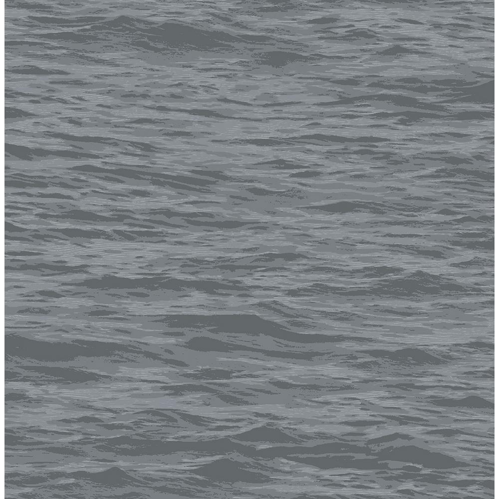 Cove Grey Serene Sea Peel and Stick Wallpaper 30.75 sq. ft.