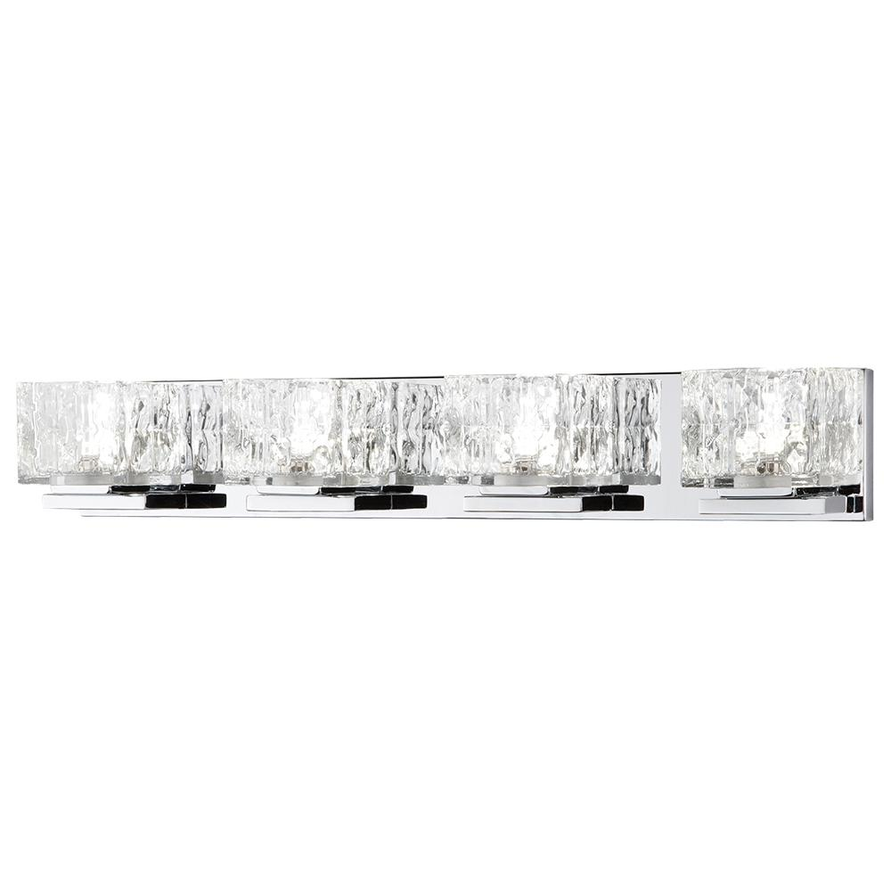 75 Watt Equivalent 4 Light Chrome Integrated Led Vanity With Clear Cube Gl