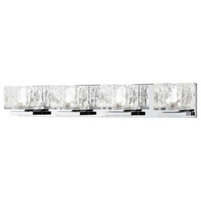 75 watt equivalent 4 light chrome integrated led vanity light with clear cube glass