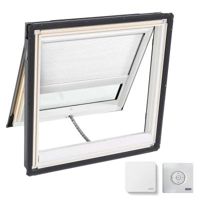 44-1/4 in. x 45-3/4 in. Venting Deck Mount Skylight w/ Laminated Low-E3 Glass, White Solar Powered Light Filtering Blind