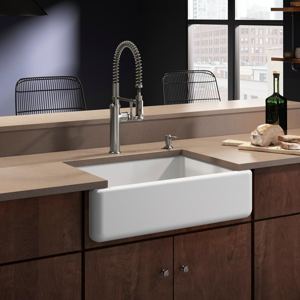KOHLER Whitehaven All-in-One Undermount Cast Iron 33 in. Single Bowl  Kitchen Sink in White with Sous Faucet in Stainless Steel
