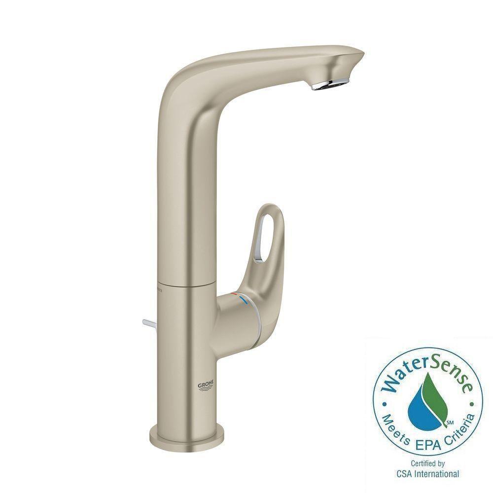 Eurostyle L-Size Single Hole Single-Handle Bathroom Faucet in Brushed Nickel Infinity Finish