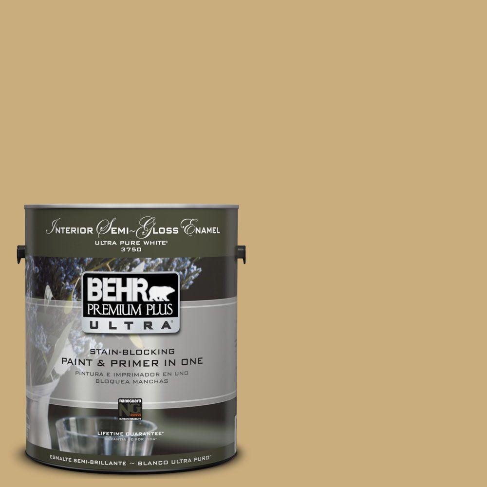 BEHR Premium Plus Ultra 1 gal. #UL180-7 Cup Of Tea Semi-Gloss Enamel ...