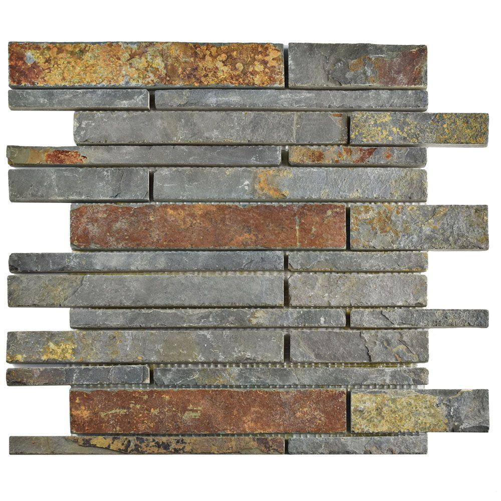 Merola Tile Crag Grand Piano Sunset Slate 12 in. x 12 in. x 10 mm ...