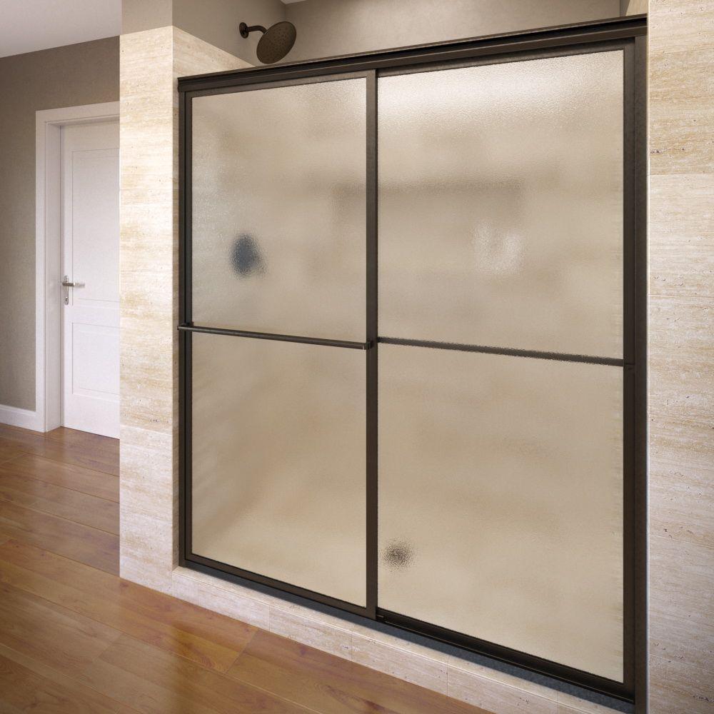 Deluxe 51-3/8 in. x 68 in. Framed Sliding Shower Door in