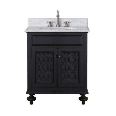 London 30 in. Vanity in Dark Espresso with Marble Vanity Top in Carrara White with White Basin