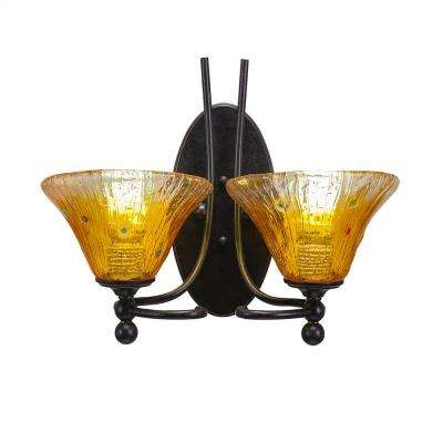 2-Light Dark Granite Sconce with Gold Champagne Ribbed Glass