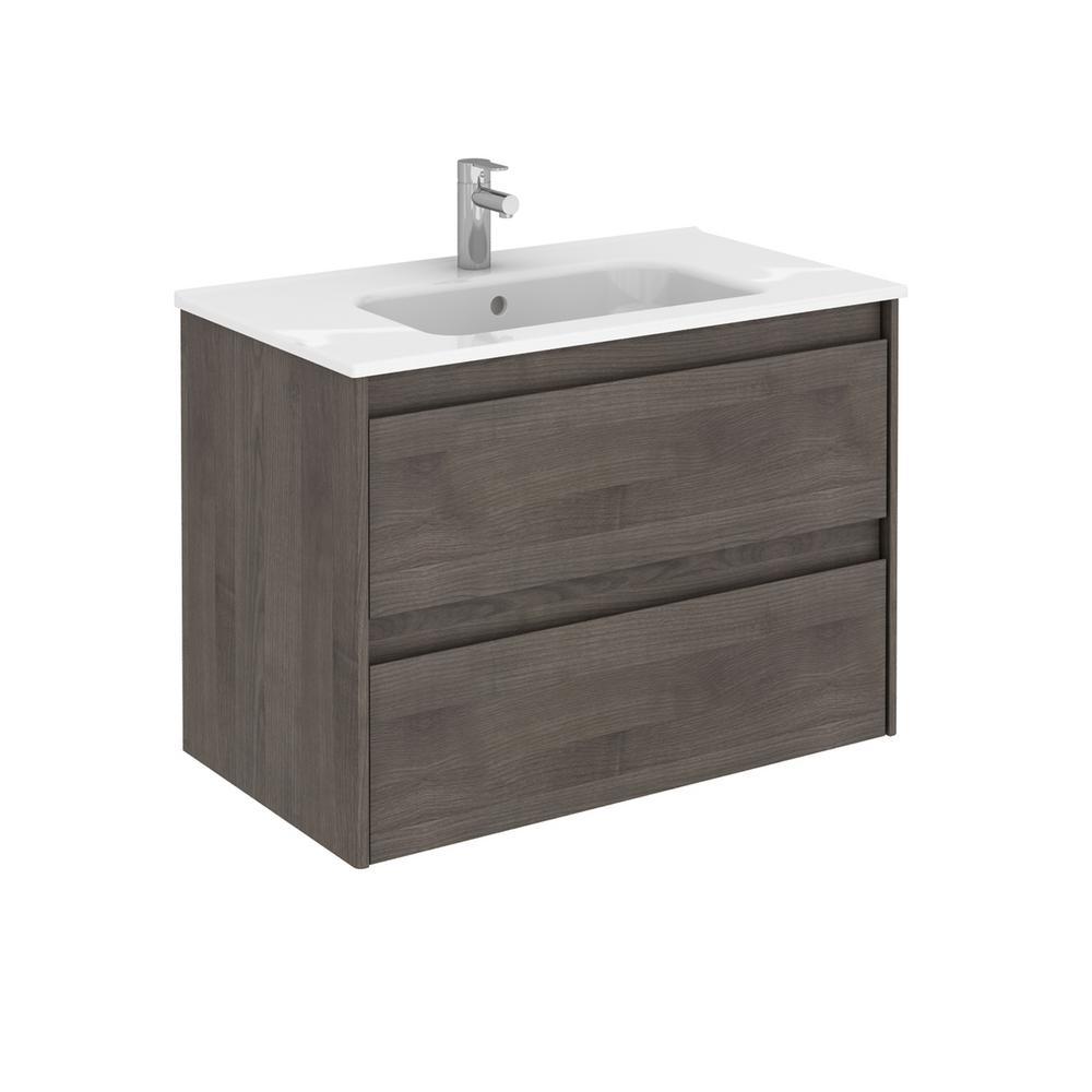 Ambra 31.6 in. W x 18.1 in. D x 22.3 in. H Bathroom Vanity Unit in Samara Ash with Vanity Top and Basin in White