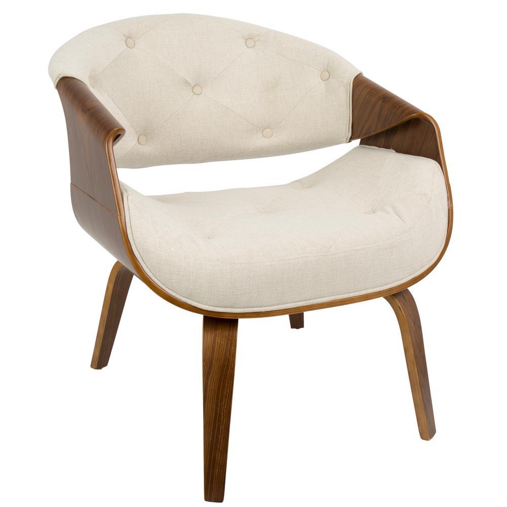 Lumisource Curvo Mid Century Cream Modern Tufted Accent Chair