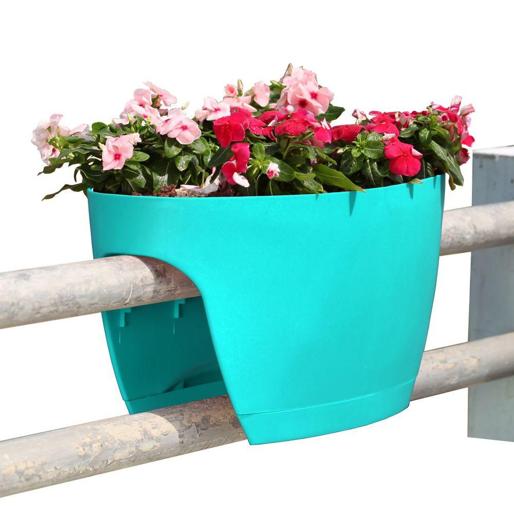 XL Deck Rail Planter Box with Drainage Trays, 24 in., Turquoise