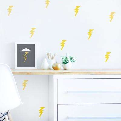 Yellow Lightning Bolt Fabric Wall Decal