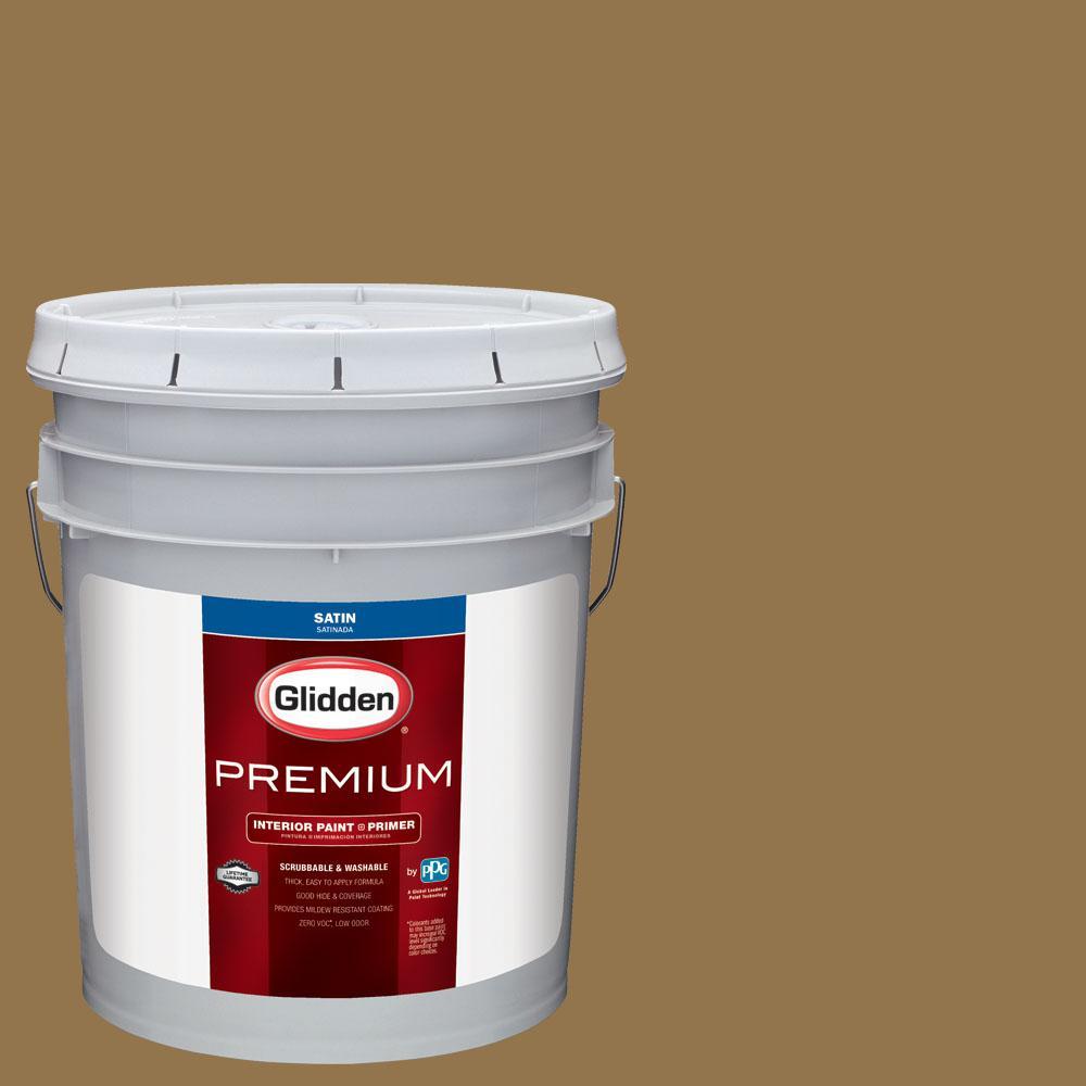 Glidden Premium 5 gal. #NHL-001K Anaheim Ducks Dark Gold Satin Interior Paint with Primer