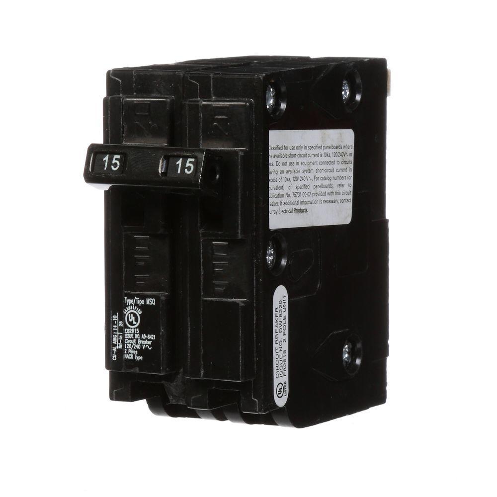 15 Amp Double-Pole Type MSQ QO Replacement Circuit Breaker