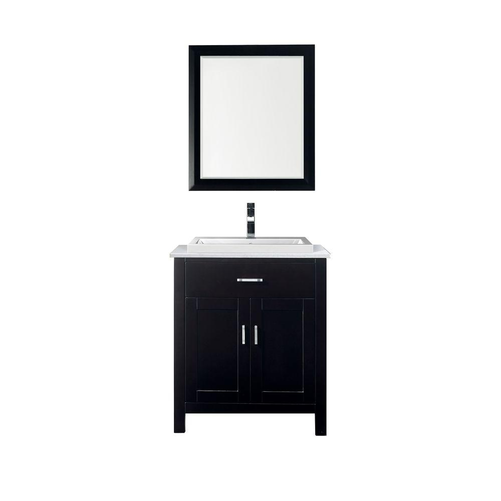 Studio Bathe Kelly 30 in. Vanity in Espresso with Solid Surface Marble Vanity Top in Carrara White and Mirror