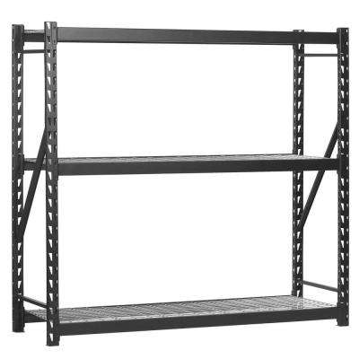 72 in. H x 60 in. W x 18 in. D 3-Tier Steel Wire Shelving Unit in Black