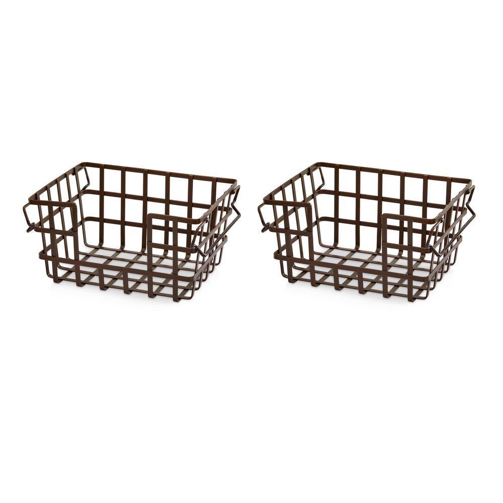 Under Shelf Basket Storage Space Saving Steel Bronze: InterDesign York Lyra Under The Shelf Storage Basket In