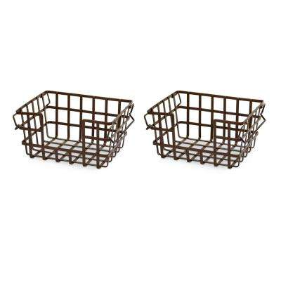 2-Piece Iron Slat Stacking and Nesting Storage Basket Set