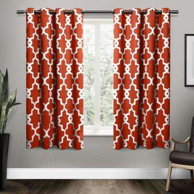 Ironwork 52 in. W x 63 in. L Woven Blackout Grommet Top Curtain Panel in Mecca Orange (2 Panels)