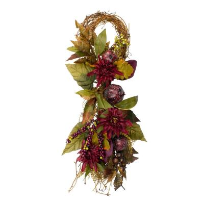 28 in. Mum Flowers with Pomegranates Autumn Teardrop Swag