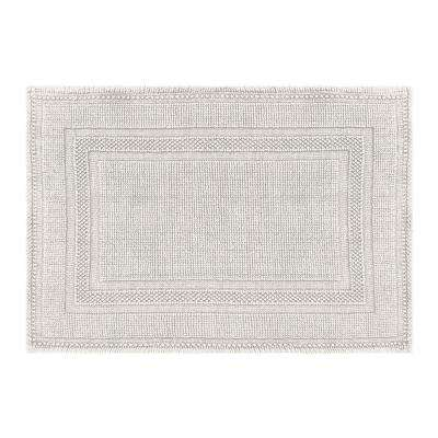 Cotton Stonewash Racetrack 17 in. x 24 in. Bath Rug in Light Gray