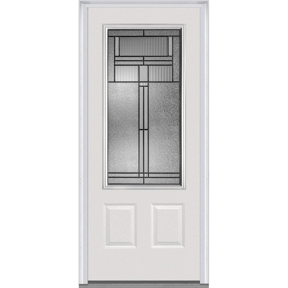 36 in. x 80 in. Brighton Left-Hand 3/4-Lite Decorative 2-Panel Primed Fiberglass Smooth Prehung Front Door