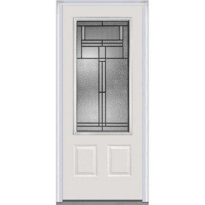 36 in. x 80 in. Brighton Right-Hand Inswing 3/4-Lite Decorative 2-Panel Primed Fiberglass Smooth Prehung Front Door
