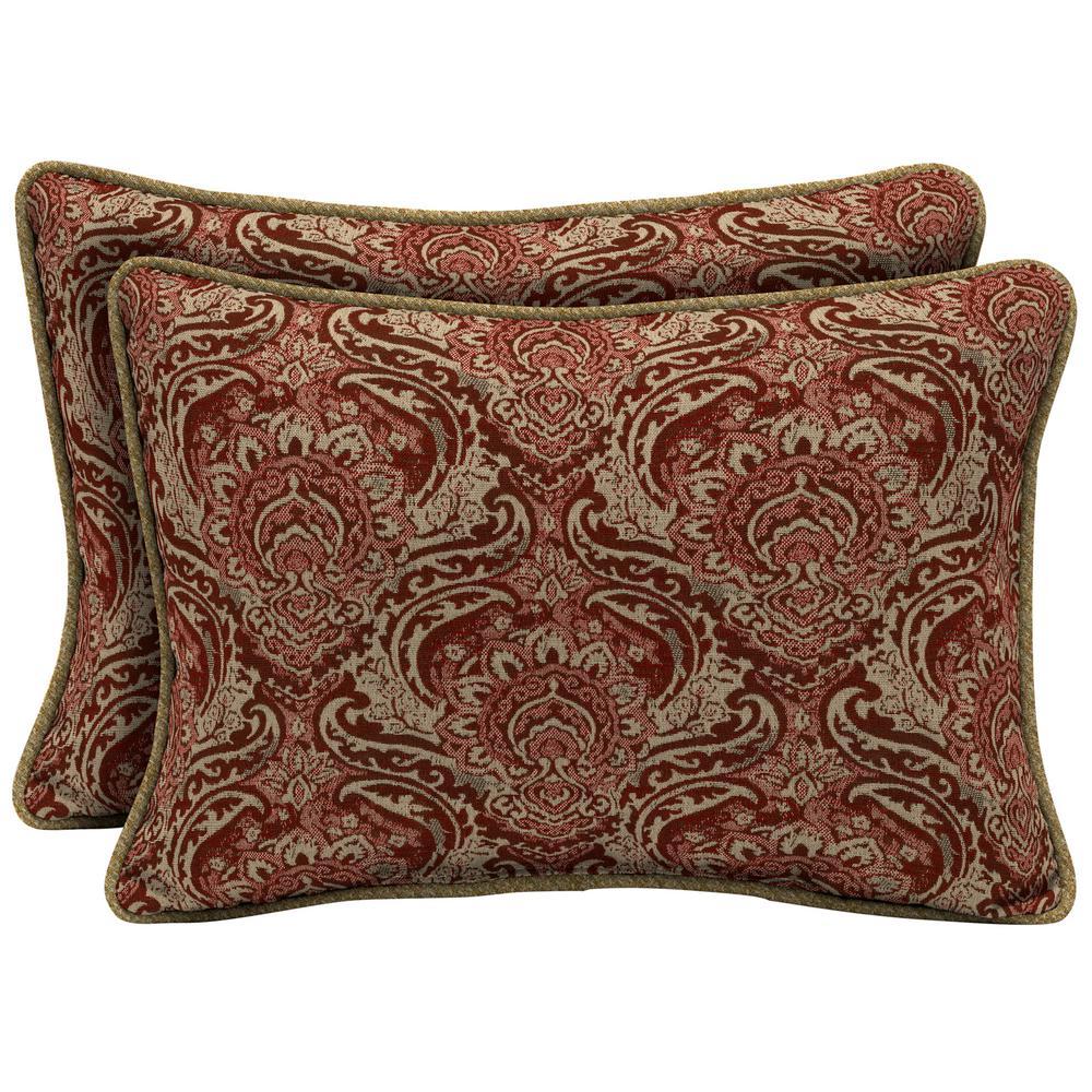 Venice Oversize Lumbar Outdoor Throw Pillow with Welt (2-Pack)