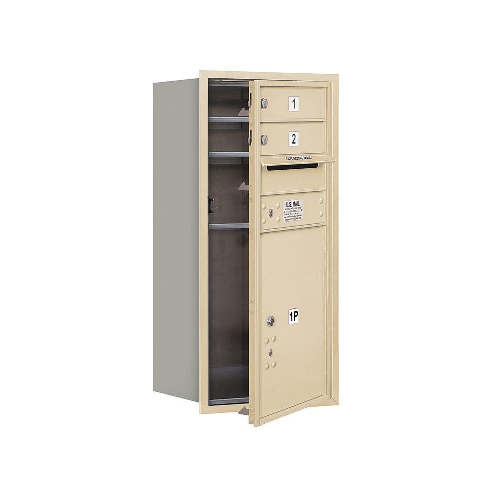 3700 Series 34 in. 9 Door High Unit Sandstone USPS Front Loading 4C Horizontal Mailbox with 2 MB1 Doors/1 PL5