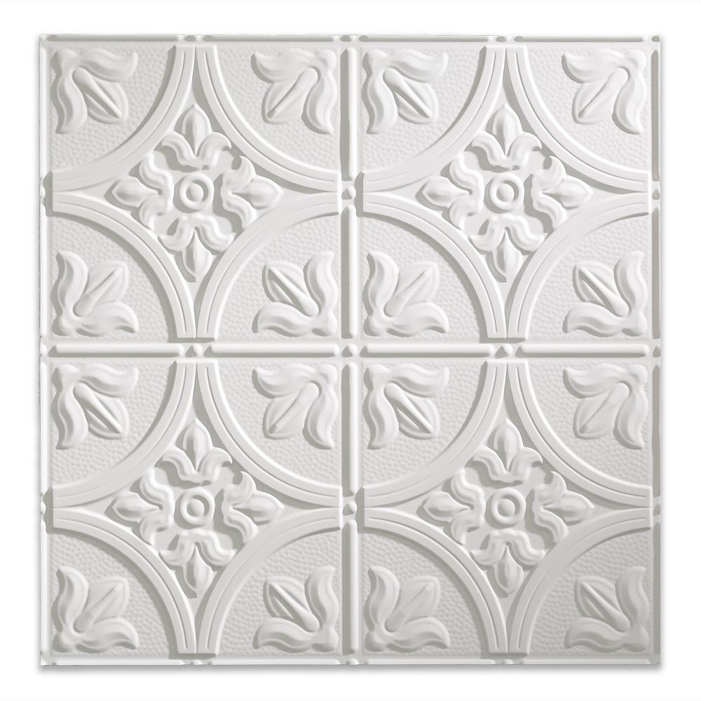 Fasade Traditional 2 2 Ft X 2 Ft Matte White Lay In Vinyl Ceiling Tile 20 Sq Ft Pl5201 The Home Depot