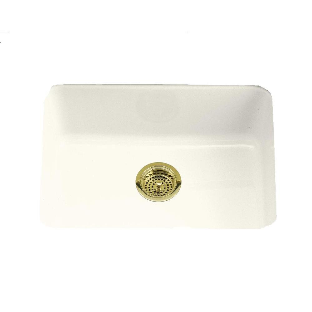 KOHLER Iron/Tones Drop-In/Undermount Cast-Iron 24 in. Single Bowl Kitchen Sink in Biscuit
