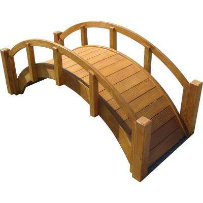 29 in. Miniature Japanese Wood Garden Bridge - Waterproofed