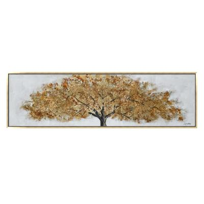 """""""Golden Tree in. Gold Wooden Floating Frame Hand Painted Acrylic Wall Art Fall 71 in. x 20 in."""