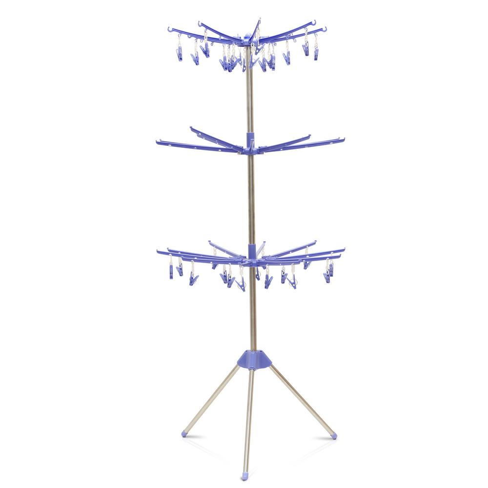 Furinno Yijin 29 in. W x 65 in. H Blue Metal Drying Stand Furinno Yijin Clothes Drying stand puts the power punch in air drying. Our clothes drying stand is a lightweight and portability solution for cloths, towels and socks hanging and drying. Furinno Yijin Clothes Drying stand is a collapsible adjustable space-saving clothes hanger laundry clothing organization. Featuring 3-tier rack with clip. Products are produced 100% in China. Care instructions: Avoid using harsh chemicals. Pictures are for illustration purpose. All decor items are not included in this offer. Color: Blue.