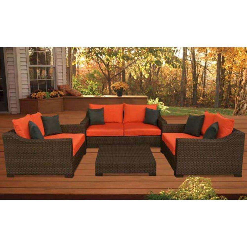 Atlantic Contemporary Lifestyle Oxford 4 Piece Patio Seating Set With Orange Cushions Pli