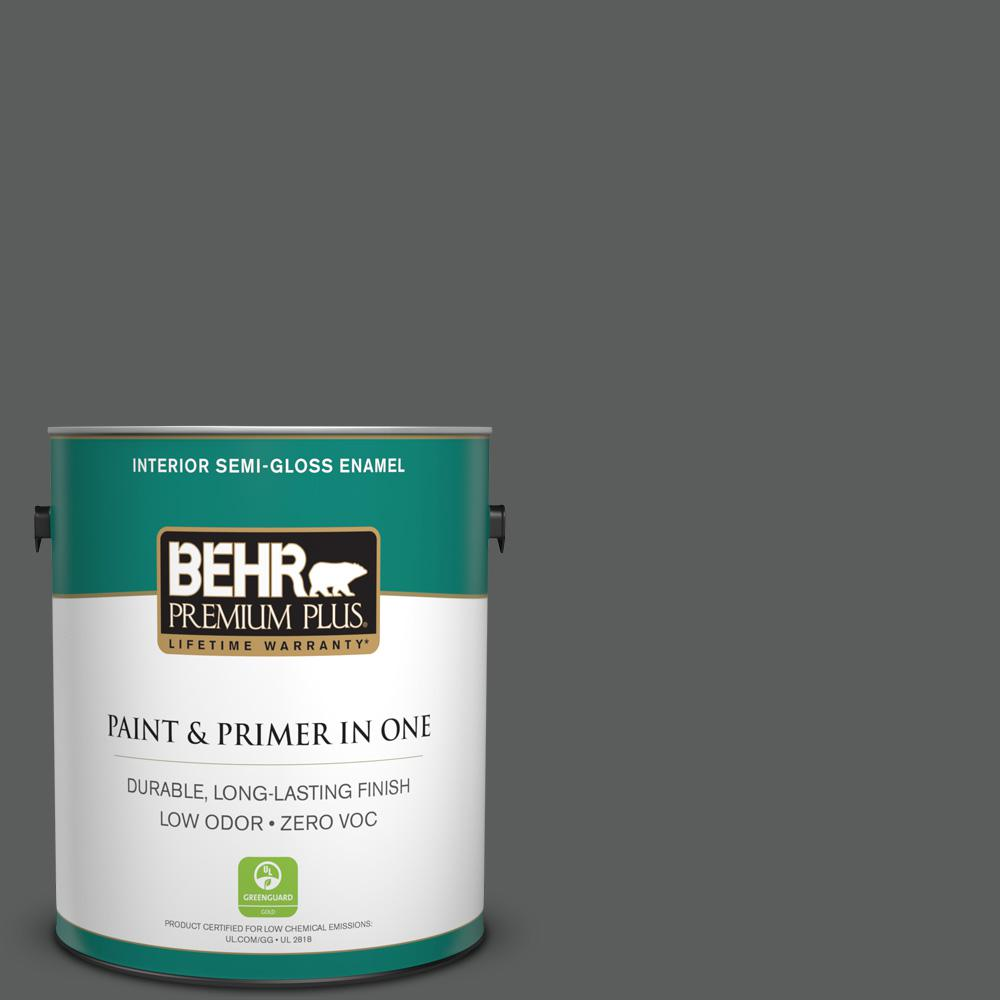 1-gal. #N520-6 Asphalt Gray Semi-Gloss Enamel Interior Paint
