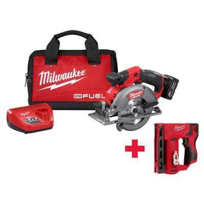 M12 FUEL 12-Volt Lithium-Ion 5-3/8 in. Cordless Circular Saw Kit /W Free M12 Stapler