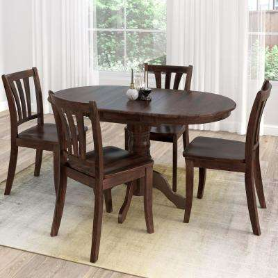 Dillon 5 Piece Extendable Cappuccino Stained Solid Wood Dining Set